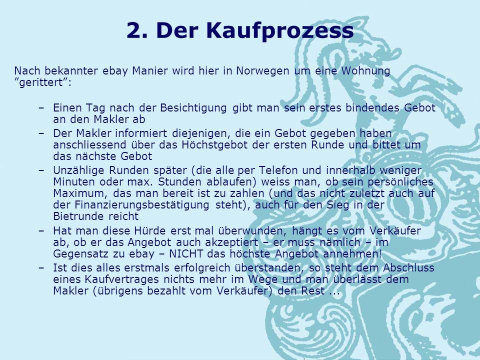 2. Der Kaufprozess Nach bekannter ebay Manier wird hier in Norwegen um eine Wohnung gerittert: –Einen Tag nach der Besichtigung gibt man sein erstes b