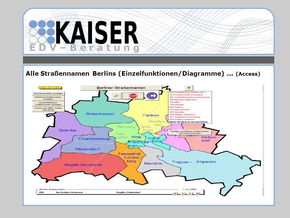 E D V – B e r a t u n g Alle Straßennamen Berlins (Einzelfunktionen/Diagramme)... (Access)