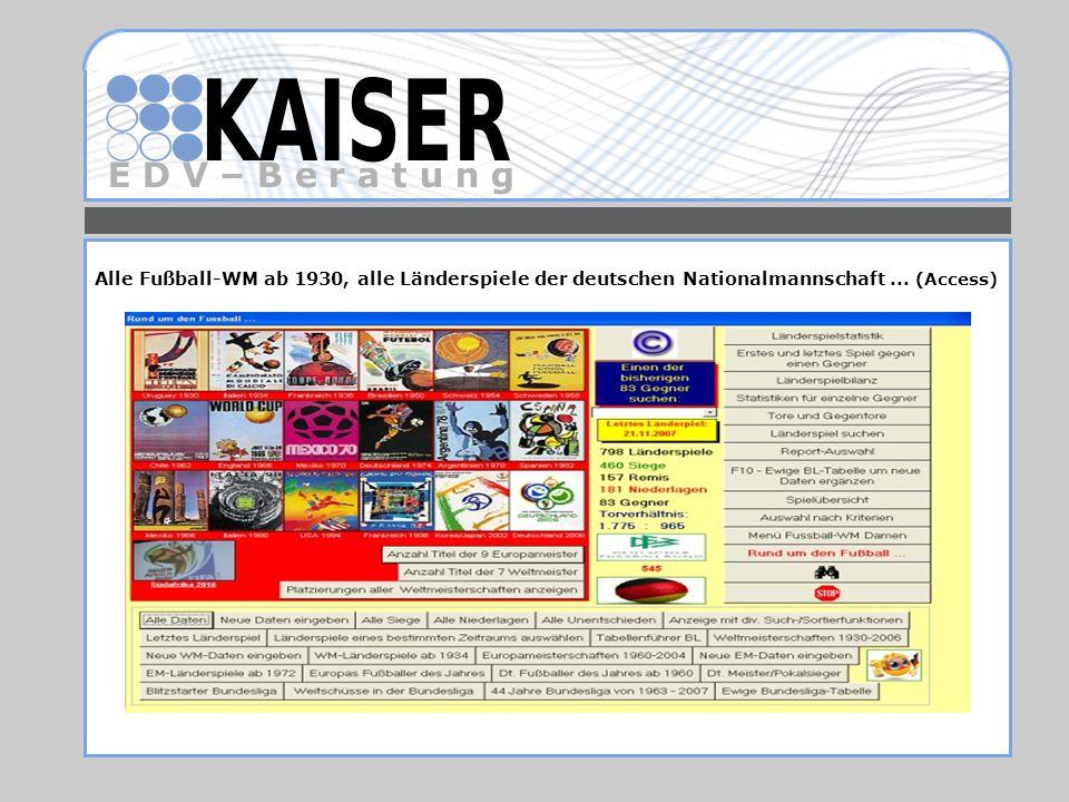 E D V – B e r a t u n g Alle Fußball-WM ab 1930, alle Länderspiele der deutschen Nationalmannschaft... (Access)