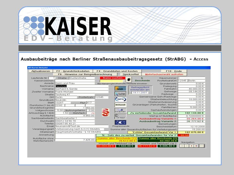 E D V – B e r a t u n g Ausbaubeiträge nach Berliner Straßenausbaubeitragsgesetz (StrABG) - Access