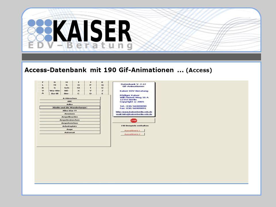 E D V – B e r a t u n g Access-Datenbank mit 190 Gif-Animationen... (Access)