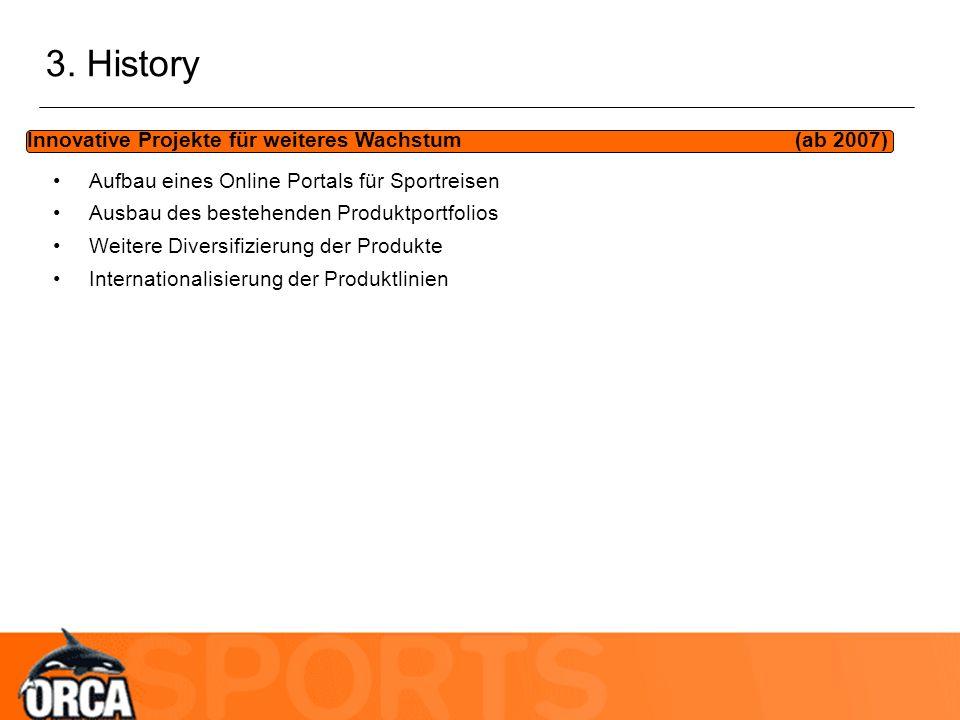 3. History Innovative Projekte für weiteres Wachstum (ab 2007) Aufbau eines Online Portals für Sportreisen Ausbau des bestehenden Produktportfolios We
