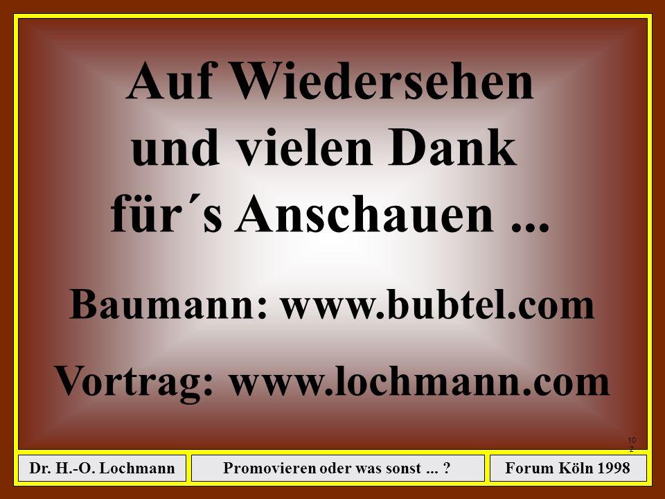 Promovieren oder was sonst... ?Dr. H.-O. LochmannForum Köln 1998 101 Das war´s...