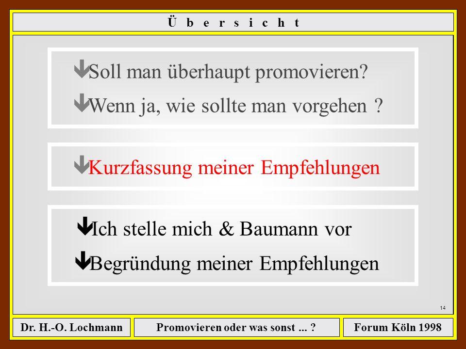 Promovieren oder was sonst... ?Dr. H.-O. LochmannForum Köln 1998 13... allerdings kann man es aber auch Übertreiben mit dem Früh Genug Anfangen Quelle