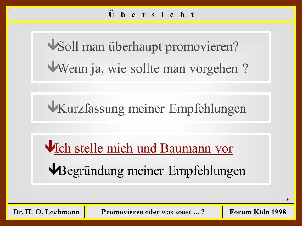 Promovieren oder was sonst... ?Dr. H.-O. LochmannForum Köln 1998 ê Soll man überhaupt promovieren? ê Wenn ja, wie sollte man vorgehen ? ê Kurzfassung