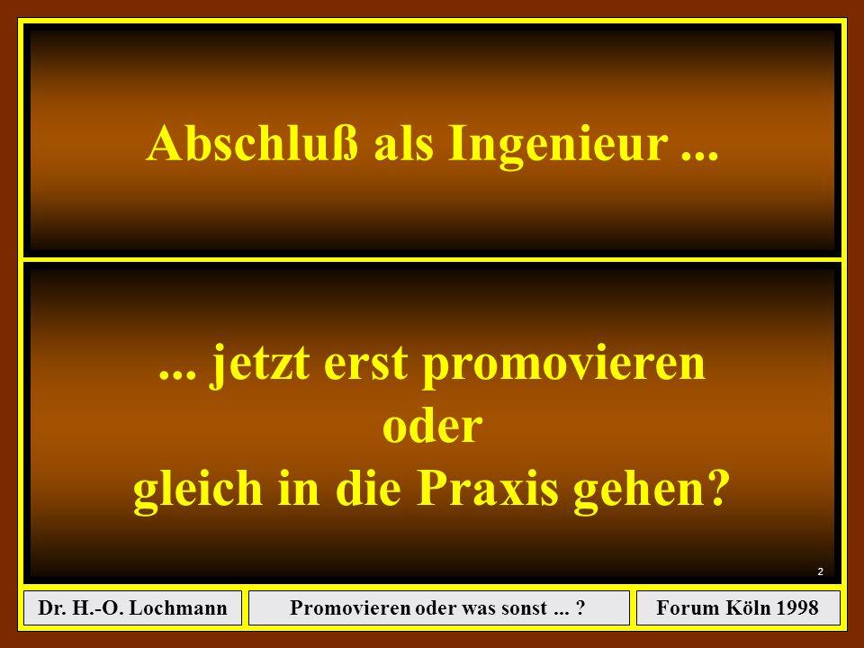 Promovieren oder was sonst... ?Dr. H.-O. LochmannForum Köln 1998 Dr. Hans-Otto Lochmann: Der Abschluß als Ingenieur ist endlich geschafft...... jetzt