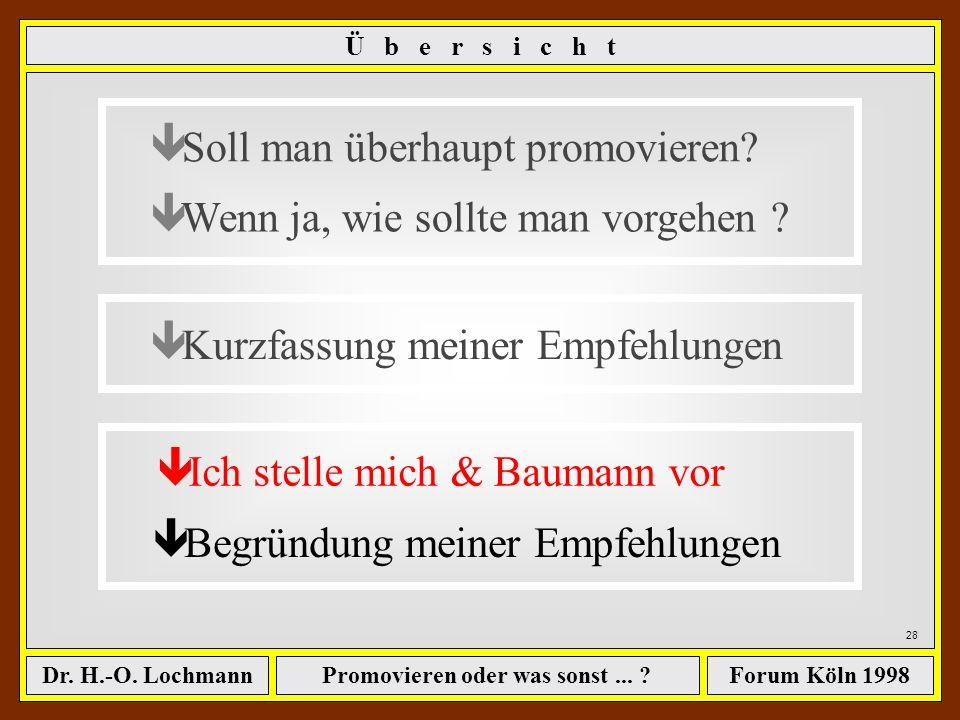 Promovieren oder was sonst... ?Dr. H.-O. LochmannForum Köln 1998 27 Baumann Unternehmensberatung www.bubtel.com B a u m a n n U n t e r n e h m e n s