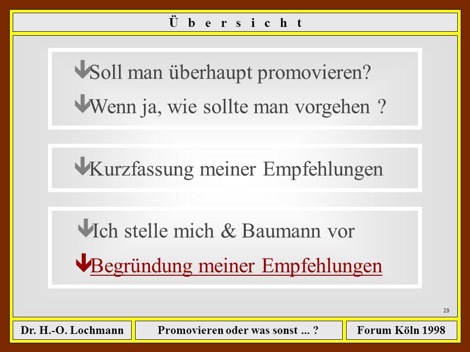 Promovieren oder was sonst... ?Dr. H.-O. LochmannForum Köln 1998 28 ê Soll man überhaupt promovieren? ê Wenn ja, wie sollte man vorgehen ? ê Kurzfassu