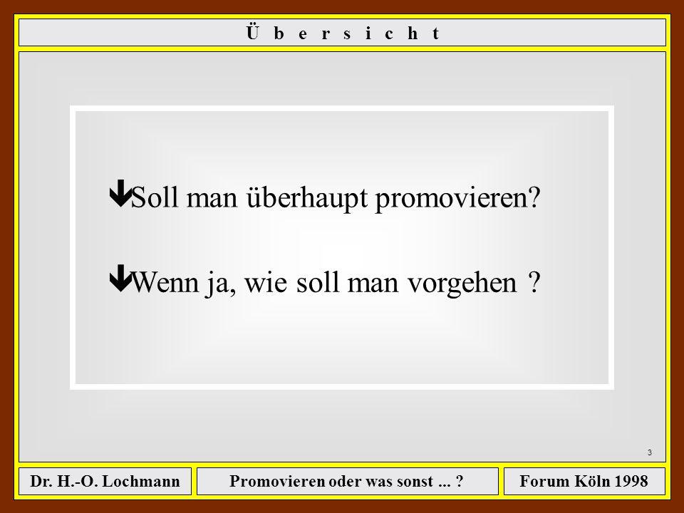Promovieren oder was sonst... ?Dr. H.-O. LochmannForum Köln 1998 Abschluß als Ingenieur...... jetzt erst promovieren oder gleich in die Praxis gehen?