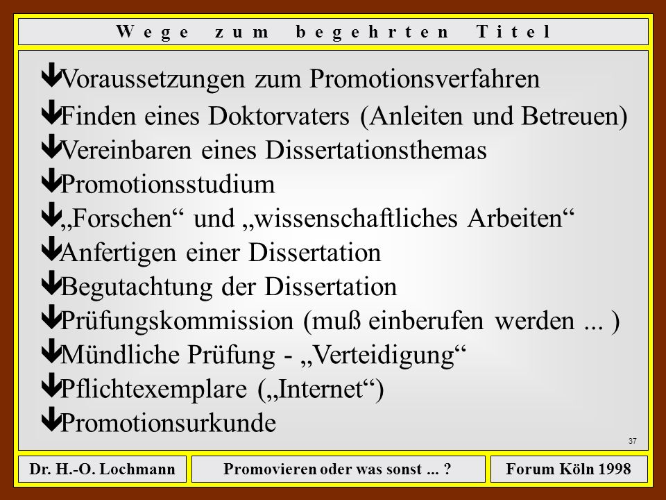 Promovieren oder was sonst... ?Dr. H.-O. LochmannForum Köln 1998 36 Einige Hintergrundinformationen... [