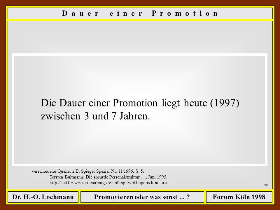 Promovieren oder was sonst... ?Dr. H.-O. LochmannForum Köln 1998 D i e w e i t e r e n T h e m e n... - Wege zum begehrten Titel - Wie finanziere ich
