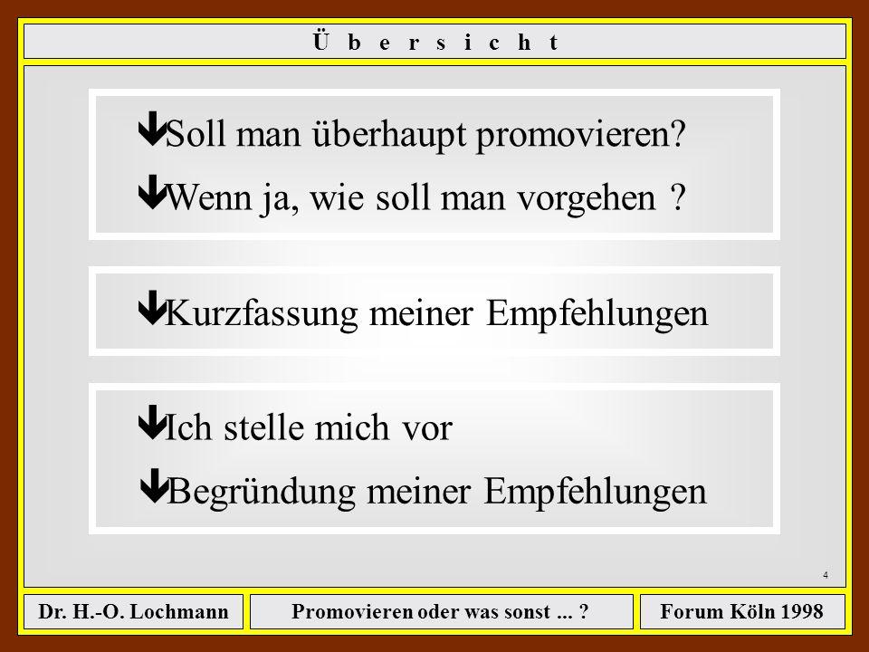 Promovieren oder was sonst... ?Dr. H.-O. LochmannForum Köln 1998 3 ê Soll man überhaupt promovieren? ê Wenn ja, wie soll man vorgehen ? Ü b e r s i c