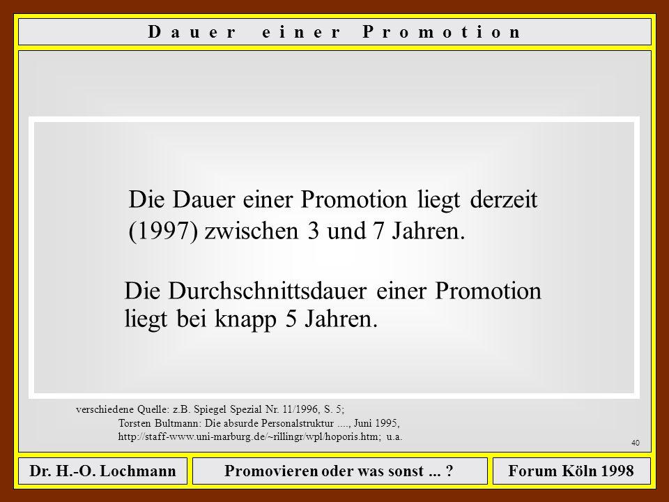 Promovieren oder was sonst... ?Dr. H.-O. LochmannForum Köln 1998 39 D a u e r e i n e r P r o m o t i o n verschiedene Quelle: z.B. Spiegel Spezial Nr