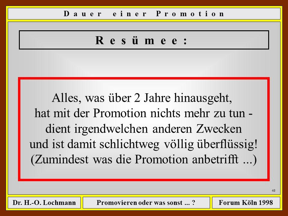 Promovieren oder was sonst... ?Dr. H.-O. LochmannForum Köln 1998 47 Kalkulation nach der Art der Ingenieure - Teil 3