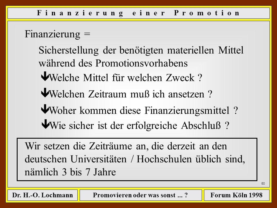 Promovieren oder was sonst... ?Dr. H.-O. LochmannForum Köln 1998 49 D i e w e i t e r e n T h e m e n... - Wege zum begehrten Titel - Wie lange dauert
