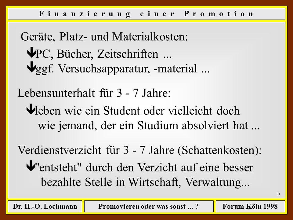 Promovieren oder was sonst... ?Dr. H.-O. LochmannForum Köln 1998 50 F i n a n z i e r u n g e i n e r P r o m o t i o n Wir setzen die Zeiträume an, d