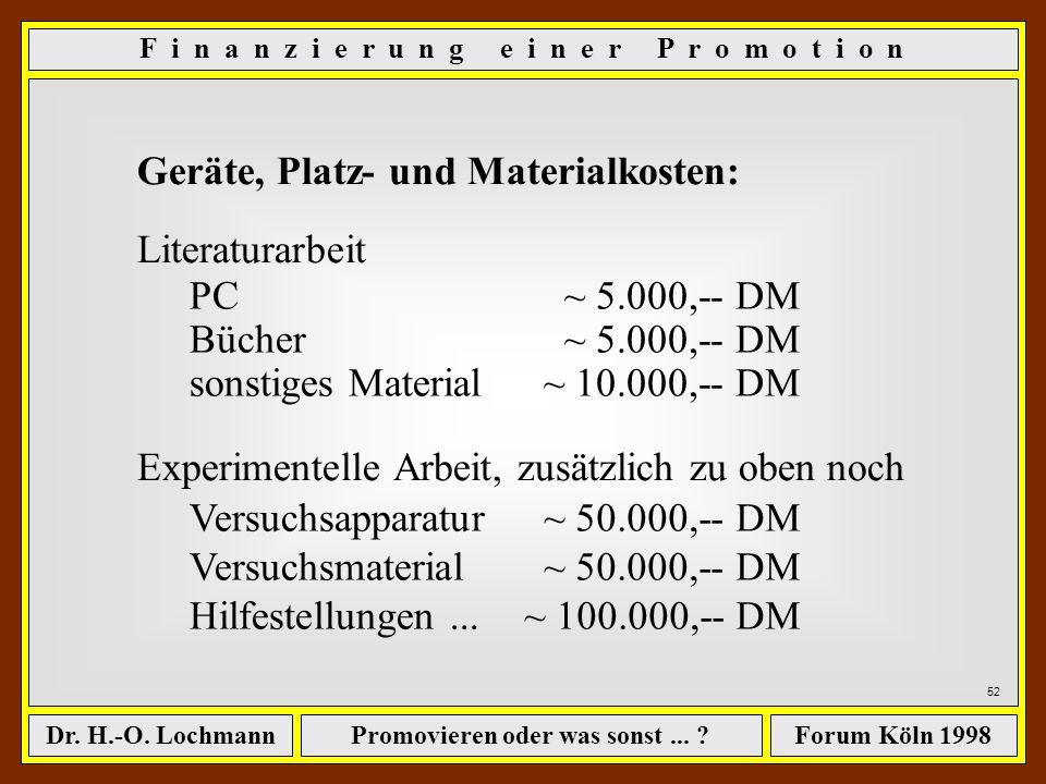 Promovieren oder was sonst... ?Dr. H.-O. LochmannForum Köln 1998 51 Geräte, Platz- und Materialkosten: ê PC, Bücher, Zeitschriften... ê ggf. Versuchsa