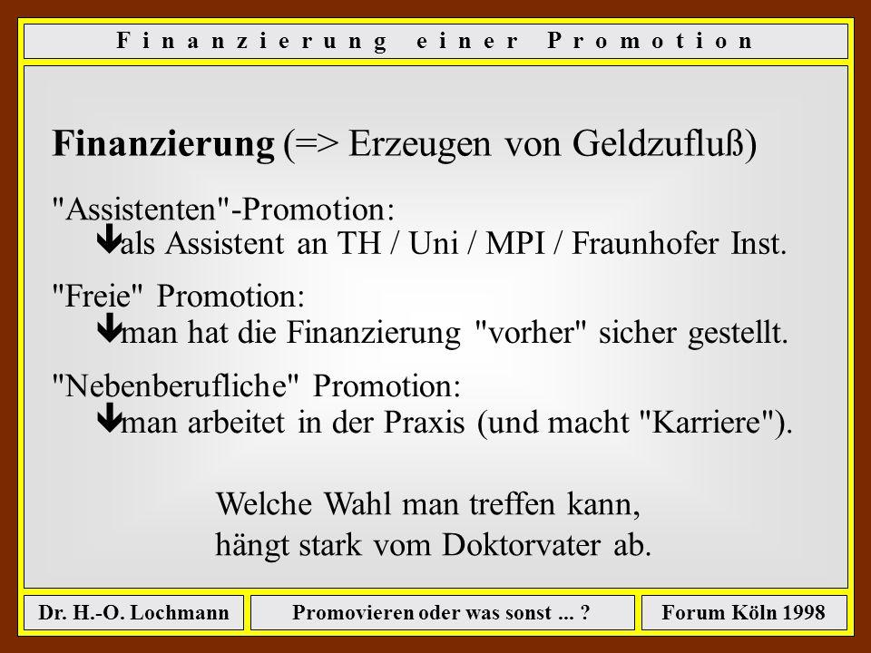 Promovieren oder was sonst... ?Dr. H.-O. LochmannForum Köln 1998 56 Gesamtkosten einer Promotion (alle Werte in DM) Gesamtschattenkosten - fehlende Ei