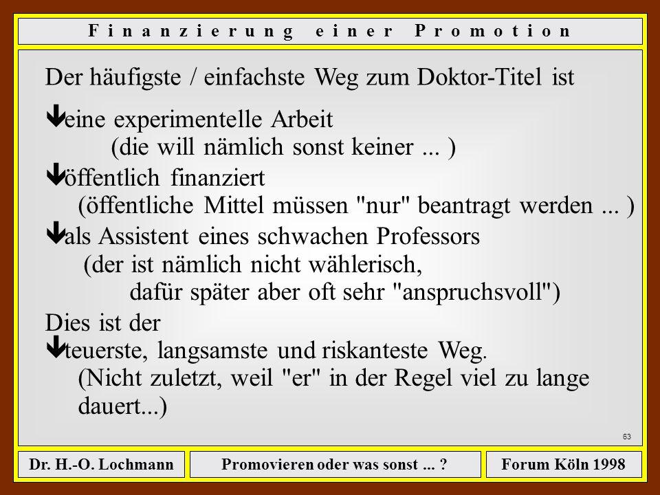 Promovieren oder was sonst... ?Dr. H.-O. LochmannForum Köln 1998 62 Vorteil: ê man arbeitet in der Praxis, und macht