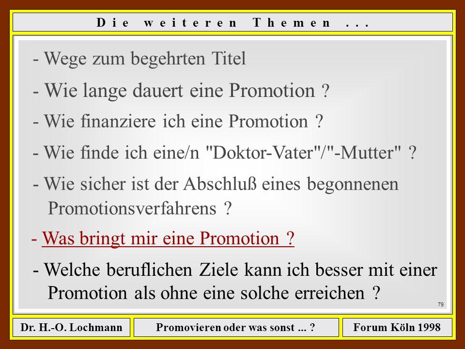 Promovieren oder was sonst... ?Dr. H.-O. LochmannForum Köln 1998 W i e s i c h e r i s t d e r A b s c h l u ß... ? Sorgen Sie lieber dafür, daß es fü