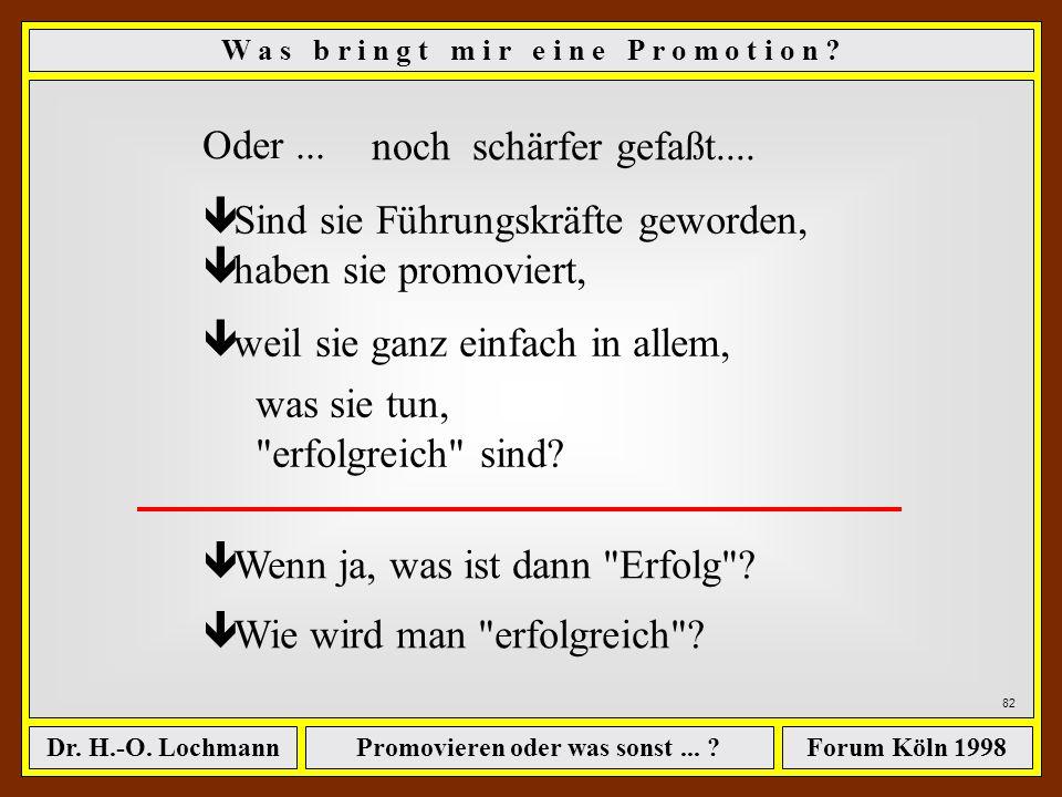 Promovieren oder was sonst... ?Dr. H.-O. LochmannForum Köln 1998 81 W a s b r i n g t m i r e i n e P r o m o t i o n ? sind Persönlichkeiten, die die