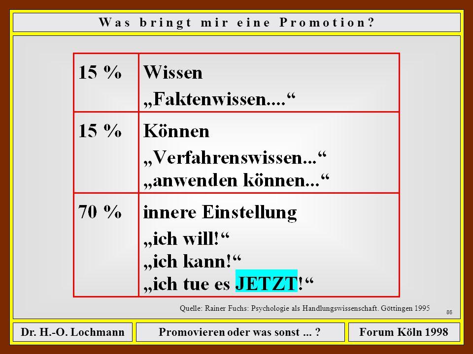 Promovieren oder was sonst... ?Dr. H.-O. LochmannForum Köln 1998 85 W a s b r i n g t m i r e i n e P r o m o t i o n ? Meine Arbeitshypothese (Forts.