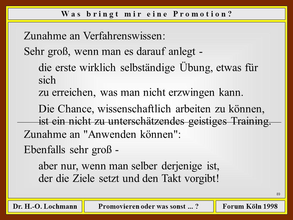 Promovieren oder was sonst... ?Dr. H.-O. LochmannForum Köln 1998 88 ê nur begrenzt auf das eigentliche Dissertationsthema. W a s b r i n g t m i r e i