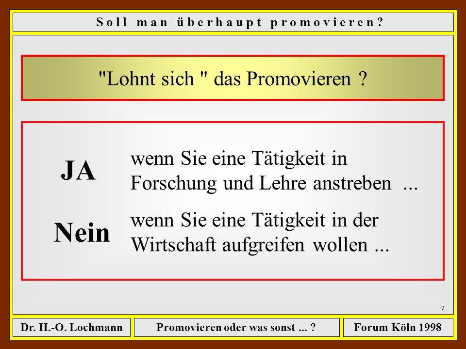 Promovieren oder was sonst... ?Dr. H.-O. LochmannForum Köln 1998 8 Sie sollten unbedingt bedenken... Eine Promotion verleiht nicht das Recht,