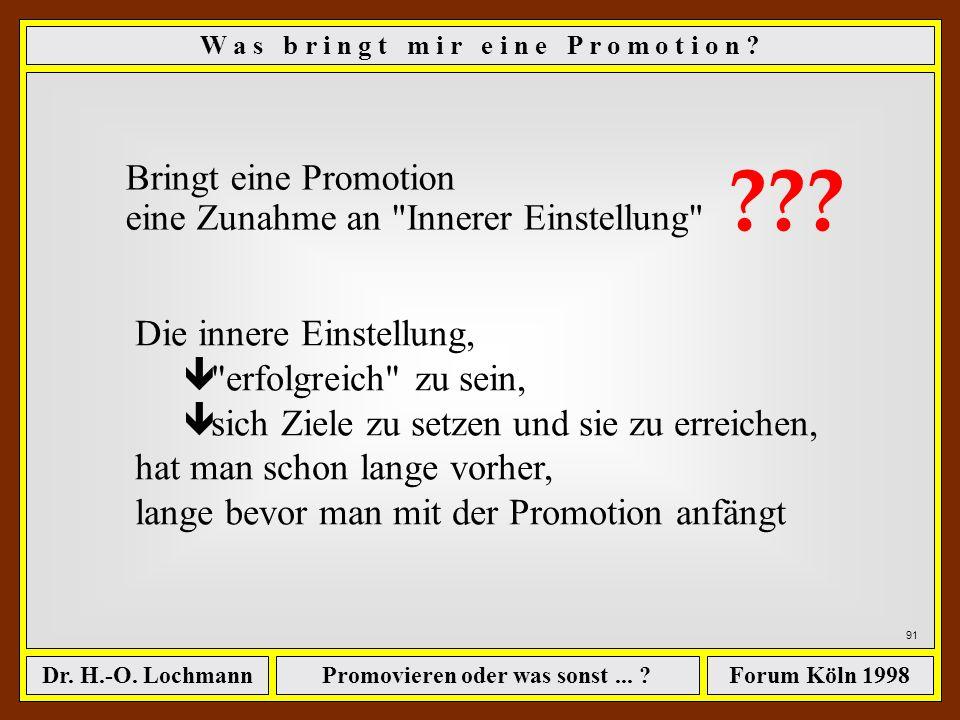 Promovieren oder was sonst... ?Dr. H.-O. LochmannForum Köln 1998 90 Innere Einstellung - Ich kann! - Ich will! - Ich tue es jetzt! W a s b r i n g t m
