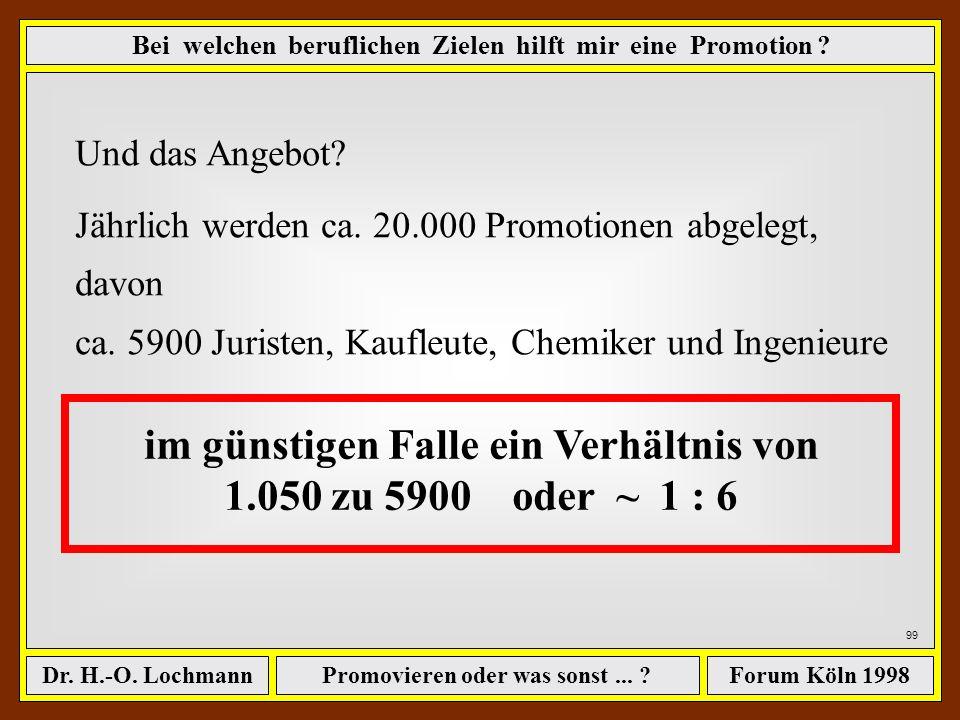 Promovieren oder was sonst... ?Dr. H.-O. LochmannForum Köln 1998 98 Jetzt können wir den jährlichen Bedarf addieren.... 80 % des der 200 größten Firme