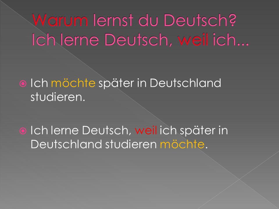 Ich möchte später in Deutschland studieren. Ich lerne Deutsch, weil ich später in Deutschland studieren möchte.