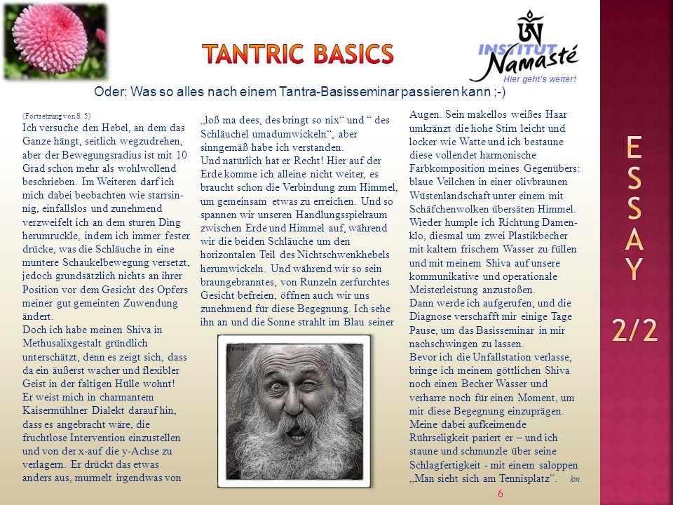 6 Oder: Was so alles nach einem Tantra-Basisseminar passieren kann ;-) (Fortsetzung von S.