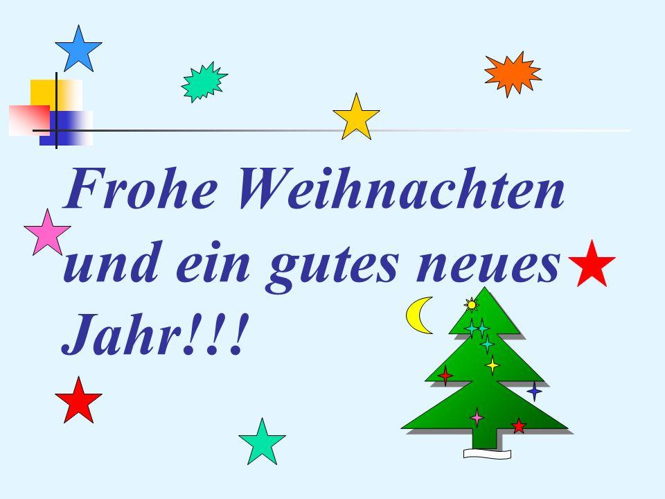 Frohe Weihnachten und ein gutes neues Jahr!!!