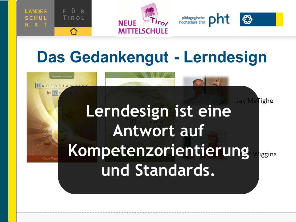 Das Gedankengut - Lerndesign Jay McTighe Grant Wiggins Lerndesign ist eine Antwort auf Kompetenzorientierung und Standards.
