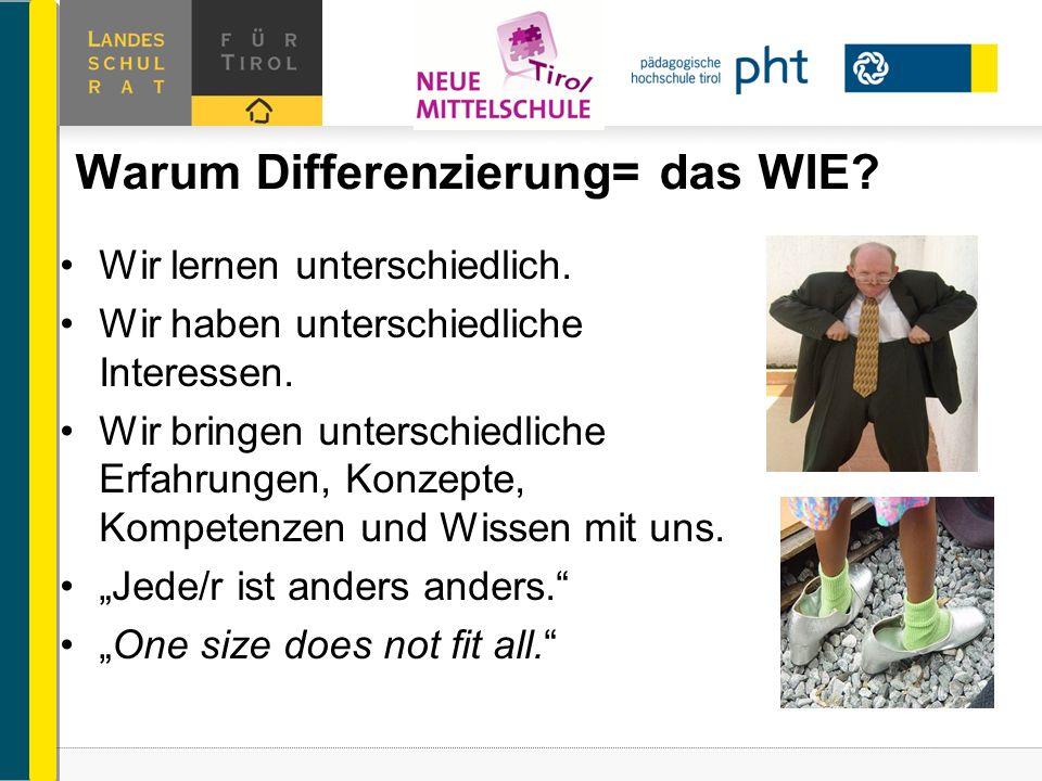 Warum Differenzierung= das WIE? Wir lernen unterschiedlich. Wir haben unterschiedliche Interessen. Wir bringen unterschiedliche Erfahrungen, Konzepte,