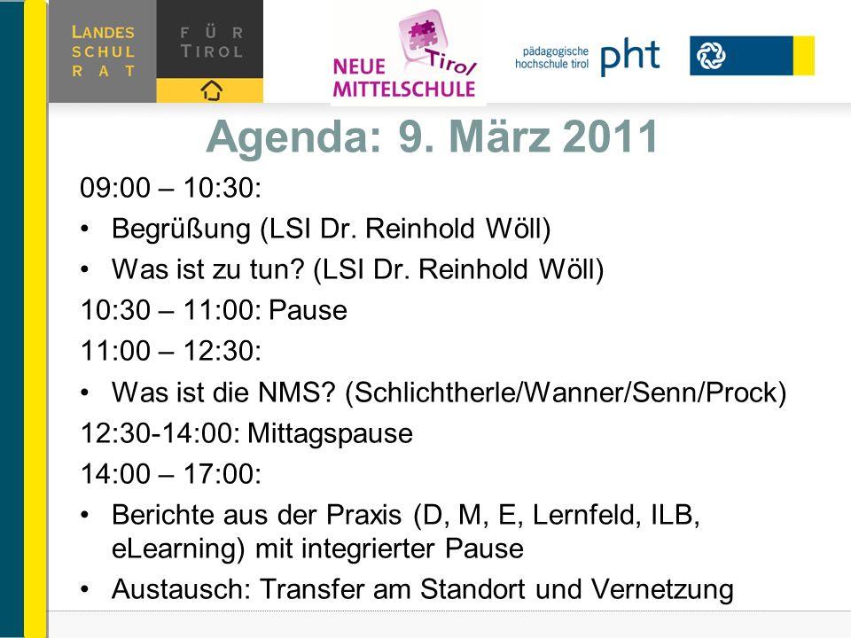 Agenda: 9. März 2011 09:00 – 10:30: Begrüßung (LSI Dr. Reinhold Wöll) Was ist zu tun? (LSI Dr. Reinhold Wöll) 10:30 – 11:00: Pause 11:00 – 12:30: Was