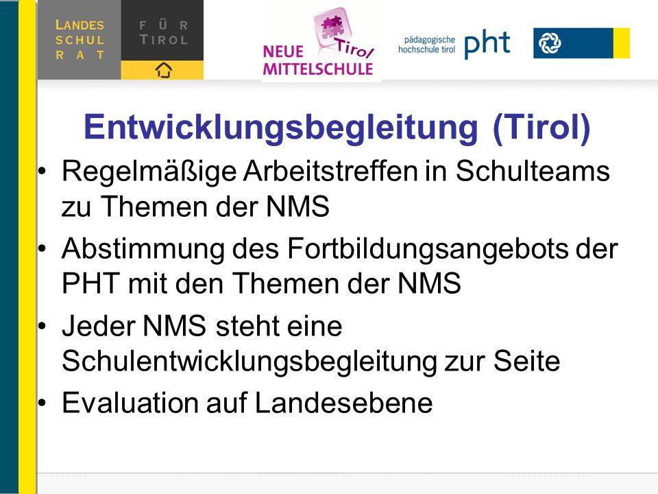 Entwicklungsbegleitung (Tirol) Regelmäßige Arbeitstreffen in Schulteams zu Themen der NMS Abstimmung des Fortbildungsangebots der PHT mit den Themen d