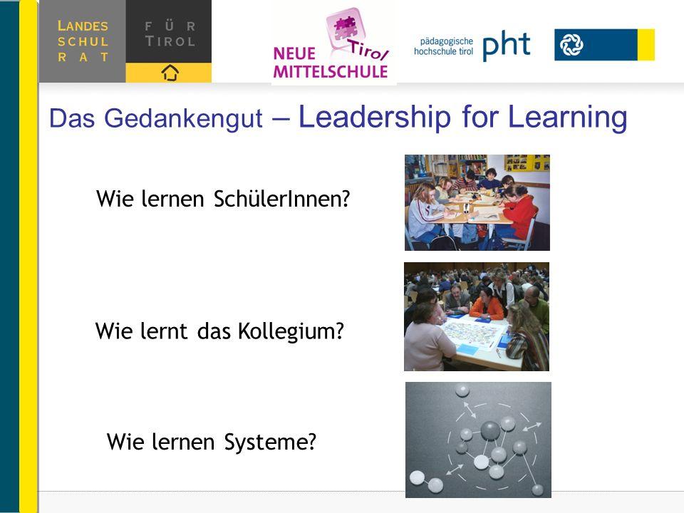 Das Gedankengut – Leadership for Learning Wie lernen Systeme? Wie lernt das Kollegium? Wie lernen SchülerInnen?