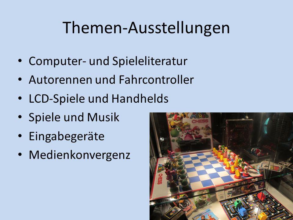 Themen-Ausstellungen Computer- und Spieleliteratur Autorennen und Fahrcontroller LCD-Spiele und Handhelds Spiele und Musik Eingabegeräte Medienkonverg