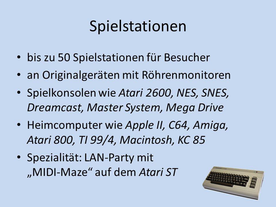 Spielstationen bis zu 50 Spielstationen für Besucher an Originalgeräten mit Röhrenmonitoren Spielkonsolen wie Atari 2600, NES, SNES, Dreamcast, Master