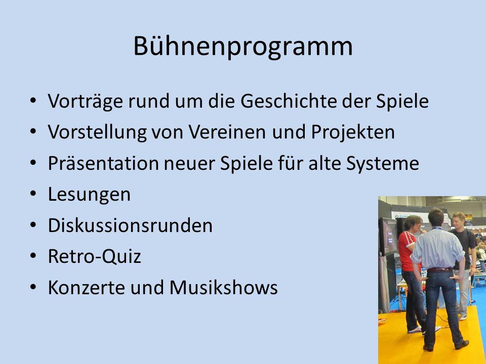 Bühnenprogramm Vorträge rund um die Geschichte der Spiele Vorstellung von Vereinen und Projekten Präsentation neuer Spiele für alte Systeme Lesungen D