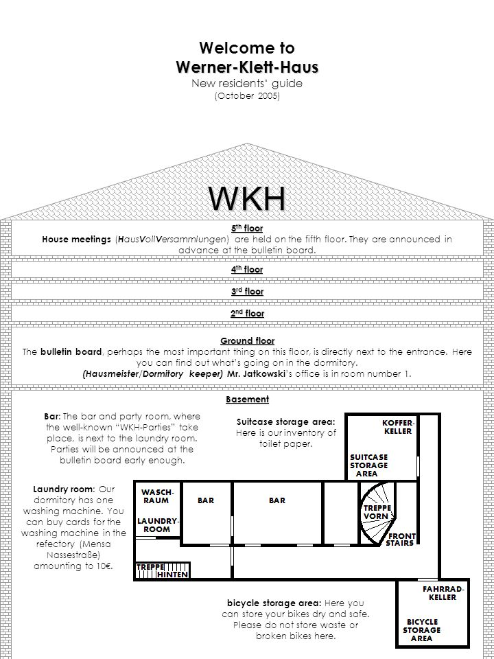 WKH 5 th floor House meetings ( H aus V oll V ersammlungen) are held on the fifth floor. They are announced in advance at the bulletin board. 4 th flo