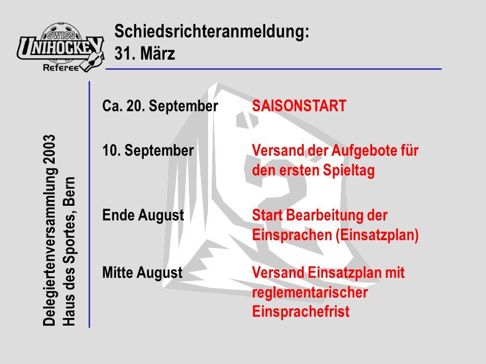 Delegiertenversammlung 2003 Haus des Sportes, Bern Schiedsrichteranmeldung: 31.