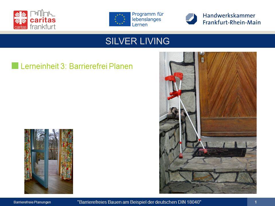 SILVER LIVING 12 Barrierefreies Bauen am Beispiel der deutschen DIN 18040 Barrierefreie Planungen ETW Mehrfamilienwohnhaus Wiesbaden EG-Wohnung Eigentum offener Dusch- bereich b = 1,20 m altes Wannenbad Flur Optionen 1.