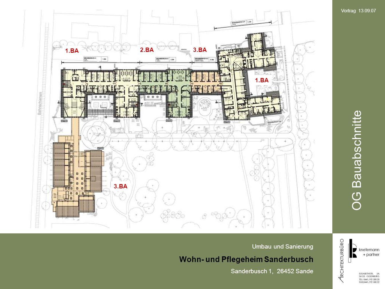 Umbau und Sanierung Wohn- und Pflegeheim Sanderbusch Sanderbusch 1, 26452 Sande Vortrag 13.09.07 OG Bauabschnitte 3.BA 2.BA 1.BA 3.BA 1.BA