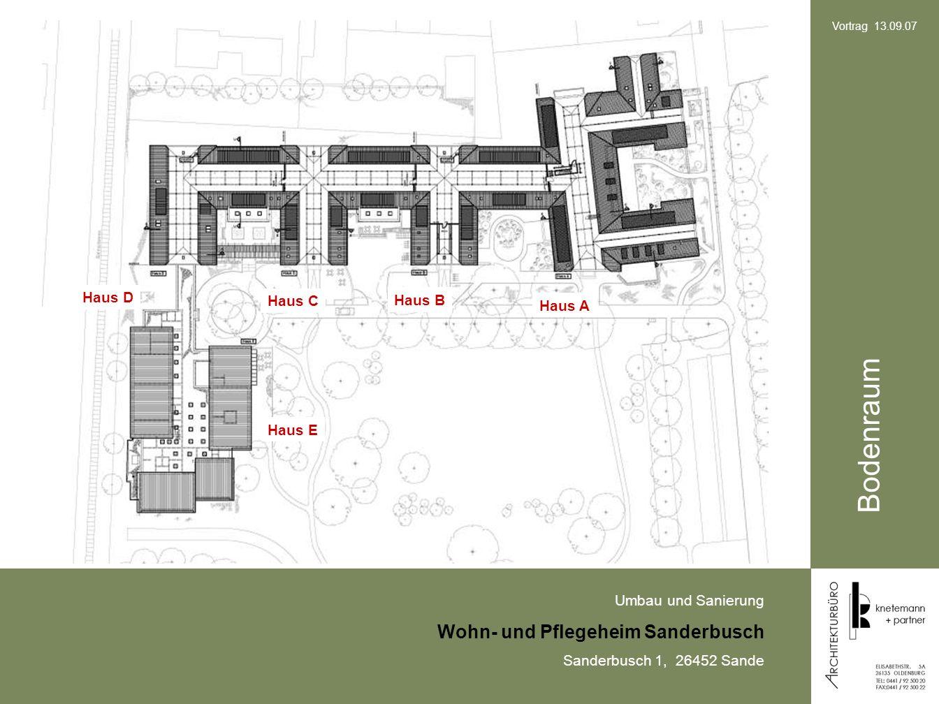 Umbau und Sanierung Wohn- und Pflegeheim Sanderbusch Sanderbusch 1, 26452 Sande Vortrag 13.09.07 Bodenraum Haus A Haus B Haus C Haus D Haus E