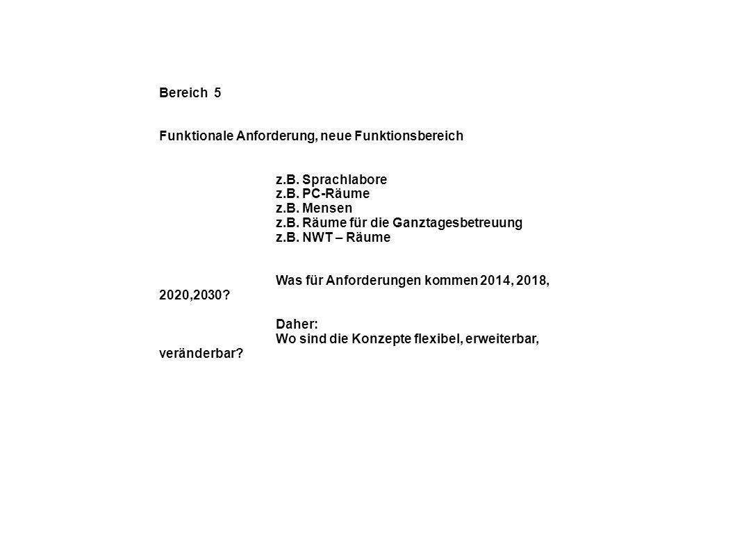 Bereich 5 Funktionale Anforderung, neue Funktionsbereich z.B.