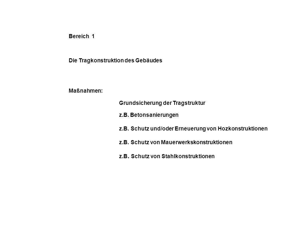 Bereich 1 Die Tragkonstruktion des Gebäudes Maßnahmen: Grundsicherung der Tragstruktur z.B. Betonsanierungen z.B. Schutz und/oder Erneuerung von Hozko