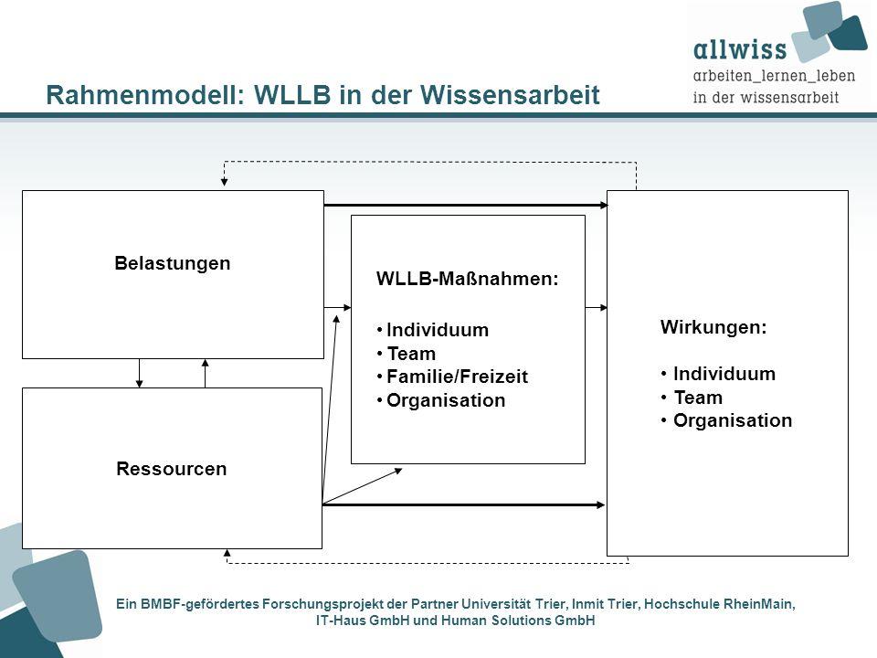 Rahmenmodell: WLLB in der Wissensarbeit Wirkungen: Individuum Team Organisation WLLB-Maßnahmen: Individuum Team Familie/Freizeit Organisation Ein BMBF