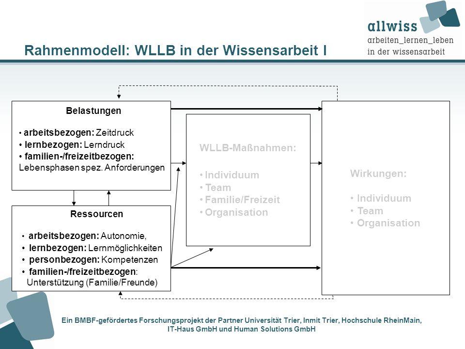 Rahmenmodell: WLLB in der Wissensarbeit I Wirkungen: Individuum Team Organisation WLLB-Maßnahmen: Individuum Team Familie/Freizeit Organisation Ein BM